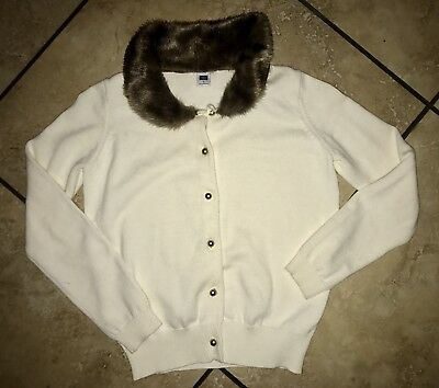 Janie and Jack Faux Fur Trimmed Cardigan in Ivory, size 8