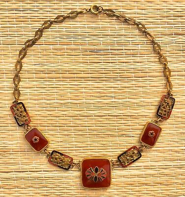 Art Deco 1920s Brass and Bakelite Chinese-influence necklace