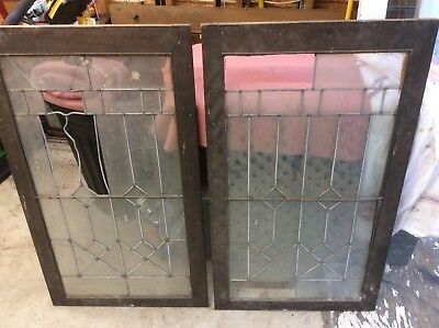 Leaded Glass Cabinet Doors (Pair) - $60 Troy, New York Leaded Glass Cabinet Door