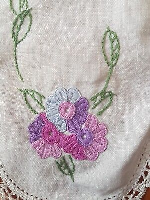 Vintage Floral And Handmade Lace Embroidered Doiley Doily