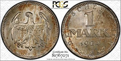 Germany 1924-A 1 Mark, PCGS MS64, attractive, mottled toning