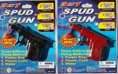 TWO SPUD GUN 3 in 1  DICAST1 x BLACK & 1 x RED FREE POST AUST WIDE