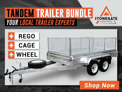 BEST DEAL - 10x6 Tandem Trailer 1990KG ATM 450mm Sides FREE Cage, Rego & Wheel
