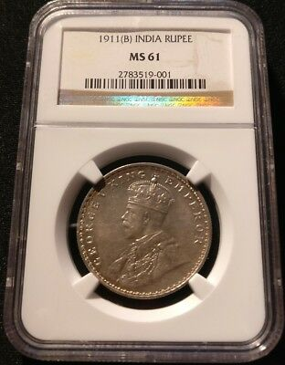 British India KGV 1911-B 'Pig' Rupee NGC MS61