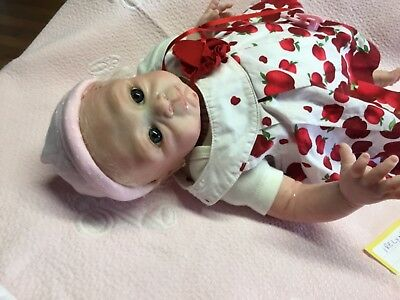 REBOR Baby 20 in was Irelyn 3/4  limb cloth body blonde hand rooted hair blue e