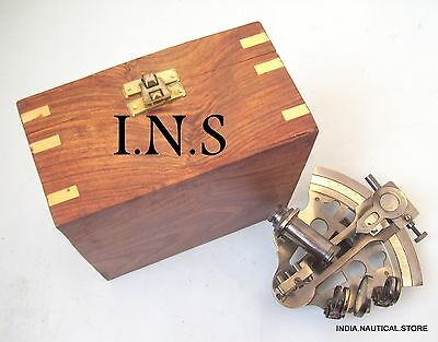 Solid Sextant Brass Maritime Instrument Nautical Marine Astrolabe W/ Wooden Box