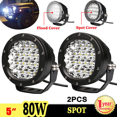 2X 5inch 80W LED Work Light Spot Round Driving Fog Lamp For Offroad ATV 4x4 4WD
