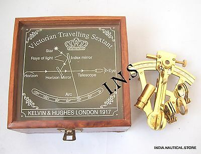 Brass Sextant Nautical Working Instrument Astrolabe Maritime With Wooden Box