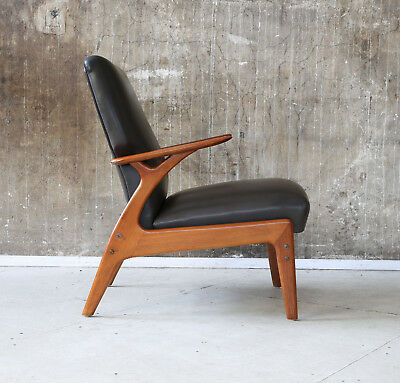 60er LEDERSESSEL MID-CENTURY SESSEL 60s LEATHER EASY CHAIR VINTAGE