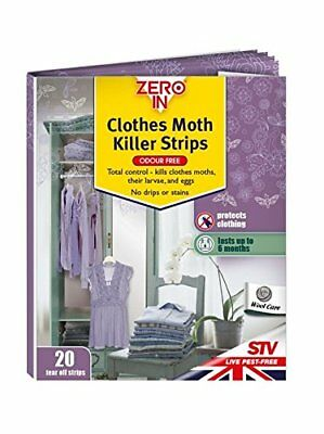 Zero In Clothes Moth Killer Strips  Scent-Free, Treats Clothing Moths, Larvae an