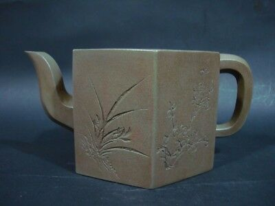 Excellent Hand Carving Old Chinese Zisha Pottery Teapot Marked TieHuaXuan