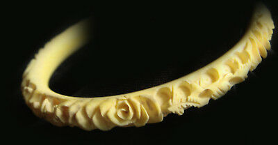 Antique Chinese HAND-CARVED Bovine Bone BRACELET with Rosettas and Dragons...