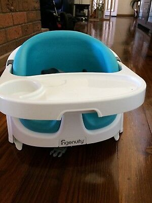Infant/Toddler 2 in 1 Booster High Chair (Ingenuity Aqua Baby Base - Portable)