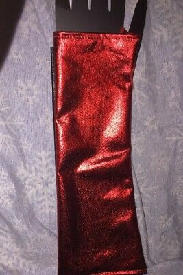 Harley Quinn Red and Black Lam Gloves Only New