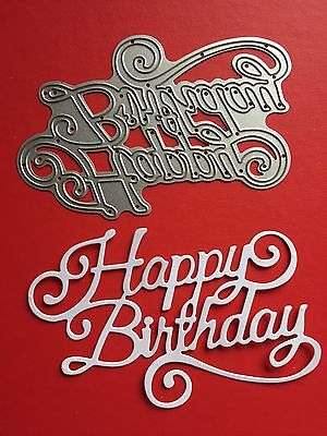 NEW• Large HAPPY BIRTHDAY SCRIPT DIE For Sizzix Or Cuttlebug