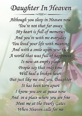 Daughter In Heaven Memorial Graveside Poem Card & Free Ground Stake F150