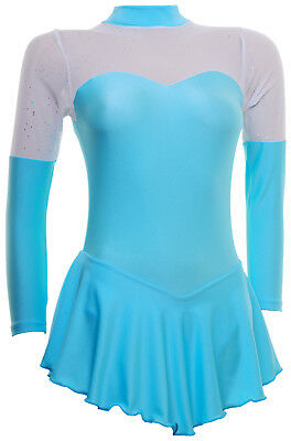 Skating Dress -AQUA LYCRA/GLITTER MIST -LONG SLEEVE  ALL SIZES AVAILABLE