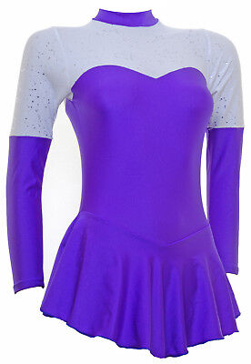 Skating Dress -PURPLE LYCRA/WHITE Con  -LONG SLEEVE  ALL SIZES AVAILABLE