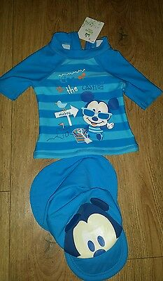Disney Baby Mickey Mouse 2 Piece Sunsuit Swimming Costume Hat Set 9-12mths