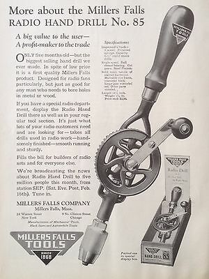 Vintage 1924 Ad(F16)~Millers Falls Hand Drill No.85, Millers Falls, Mass.