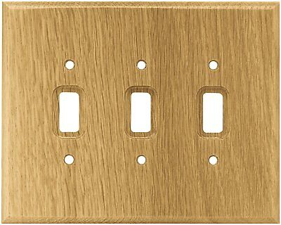 Brainerd 126430 Wood Square Triple Toggle Switch Wall Plate / Switch Plate / Oak