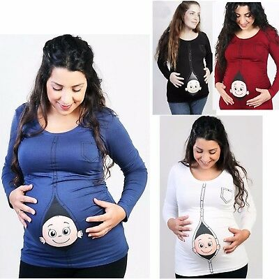 Womens Long Sleeve Stretchy Maternity T Shirt / Top UK Size 12 - 18