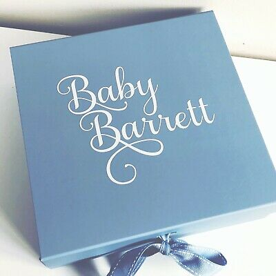 Large Blue Gift Box Personalised Valentines Baby Boy Groom Husband Birthday Box