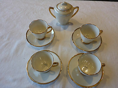 BEAUTIFUL WEMBLEY WARE DEMITASSE CUP SAUCER DUOs X 4 + LIDDED SUGAR BOWL