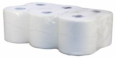 Bulk Pack Office Workshop White Hand Towels Rolls 2 Ply Centre feed Rolls Wipes