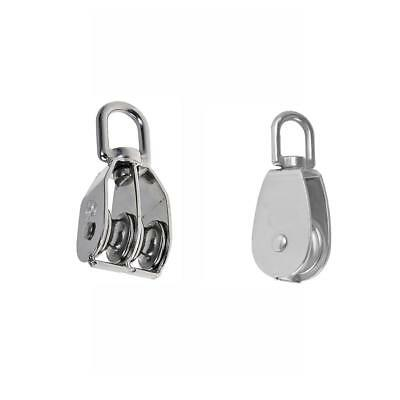 Double & Single Pulley Swivel Sheave Rope Pulley Lifting Sheave 25mm Silver