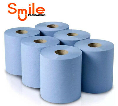 Pack Of 6/12/18/24/48 Blue Rolls 2Ply Centrefeed Paper Wipe Hand Towel Tissue