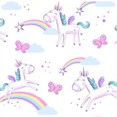 Kids Unicorns Wallpaper Butterfly Rainbow Stars Girls Bedroom White Pink Purple