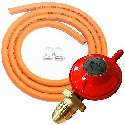 BBQ / Cooker Propane Regulator Gas Hose & Clips Heater Stove Set / Kit