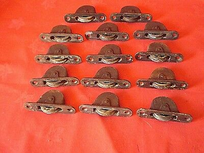 14 x ANTIQUE VICTORIAN ? CAST IRON WINDOW SASH PULLEY WEIGHT WHEEL ROLLER