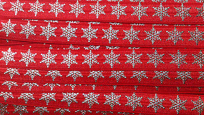 """Snowflake Fold Over Elastic Foe 5/8"""" sold by 2 M - hair bow"""