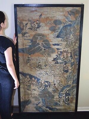 Huge Rare Antique Chinese Needlepoint Silk Kusi Panel Tapestery Immortals Scroll