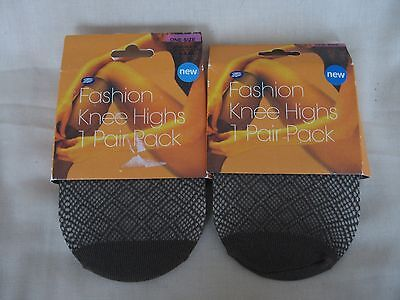 2 X BNWT Boots Patterned Fashion Knee Highs Chocolate Brown One Size
