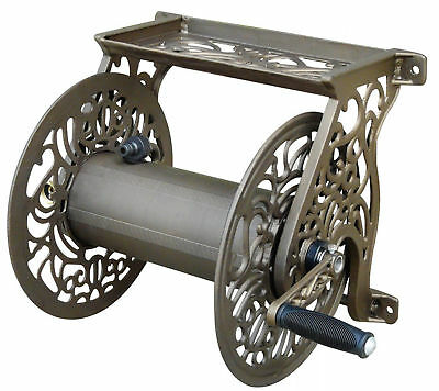 Decorative Cast Aluminum Home Wall Mount Garden Hose Reel Hold Watering tools