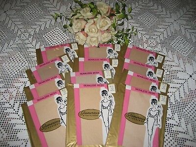 Vintage New Seamless Mesh Nylon Stockings Size 9 1/2 Mixed Beige  12 Pr. In Lot