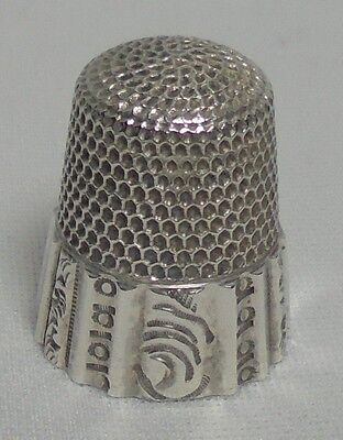 Vintage WAITE THRESHER Sterling Silver Thimble #11 Sewing