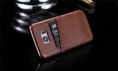 Leather Ultra Slim Hard Back Holder Shell Case Cover with 2 Credit Card Slots