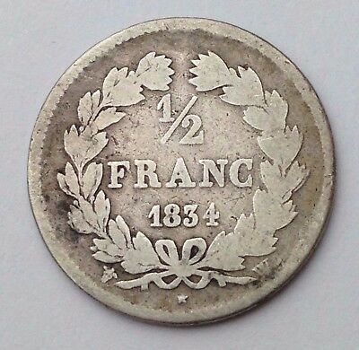 Dated : 1834 - French - Silver Coin - 1/2 Franc / Half Franc - France
