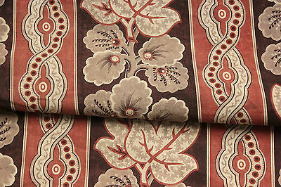 Antique French printed cotton c1840 ~ madder brown roller + block printed fabric