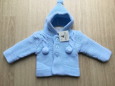 Boys Blue Chunky Knitted Hooded Cable and Pom Pom Cardigan in Blue by Mintini