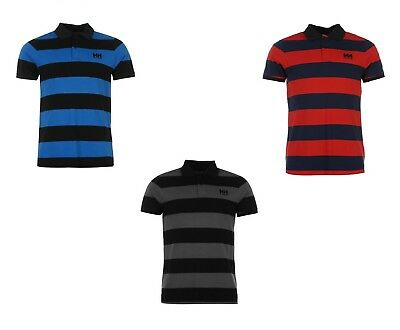Mens Helly Hansen Striped Polo Shirt  Rrp £34.99 - Blue/Red/Grey - Sale 10% Off
