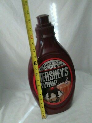 """Hershey's Chocolate Syrup Plastic Bottle Piggy Bank 18.5"""" Tall"""