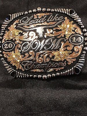 Lead like 2014 SWM 2014 Champions With 4 pink diamonds/cubic. belt buckle