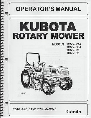 Kubota RC72-29A, RC72-36A Operator's Manual, Rotary Mower, OPERATOR MANUAL