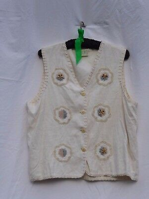 sz 14 16 La Bruela jeans waistcoat cotton beads applique folksie blanket stitch