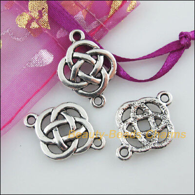 5 New Charms Chinese Knot Tibetan Silver Tone Pendants Connectors 18x25mm